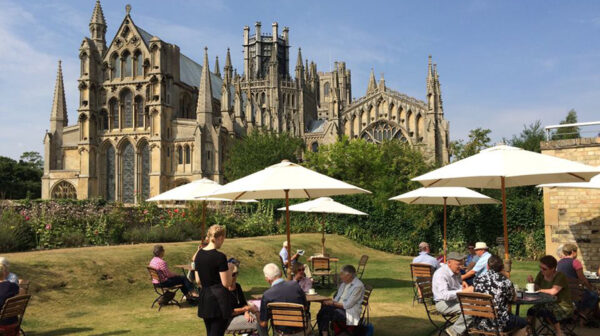 The Almonry Restaurant at Ely Cathedral, exterior view, al fresco dining